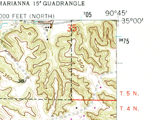 Reduced fragment of topographic map en--usgs--024k--019811--(1958)--N035-00-00_W090-52-30--N034-52-30_W090-45-00; towns and cities Haynes