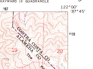 Reduced fragment of topographic map en--usgs--024k--019850--(1959)--N037-45-00_W122-07-30--N037-37-30_W122-00-00; towns and cities Hayward, Castro Valley, Ashland, Cherryland, Fairview