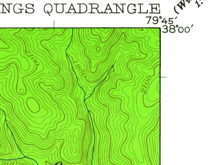 Reduced fragment of topographic map en--usgs--024k--019908--(1931)--N038-00-00_W079-52-30--N037-52-30_W079-45-00