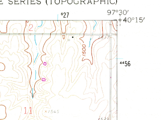 Reduced fragment of topographic map en--usgs--024k--019954--(1960)--N040-15-00_W097-37-30--N040-07-30_W097-30-00; towns and cities Hebron