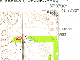 Reduced fragment of topographic map en--usgs--024k--019961--(1953)--N041-22-30_W087-15-00--N041-15-00_W087-07-30; towns and cities Hebron