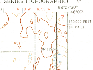 Reduced fragment of topographic map en--usgs--024k--019971--(1956)--N046-00-00_W098-15-00--N045-52-30_W098-07-30; towns and cities Hecla