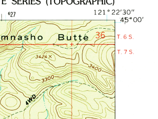 Reduced fragment of topographic map en--usgs--024k--019995--(1962)--N045-00-00_W121-30-00--N044-52-30_W121-22-30