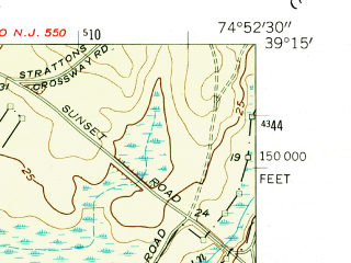 Reduced fragment of topographic map en--usgs--024k--020012--(1957)--N039-15-00_W075-00-00--N039-07-30_W074-52-30