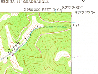 Reduced fragment of topographic map en--usgs--024k--020040--(1954)--N037-22-30_W082-30-00--N037-15-00_W082-22-30