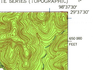 Reduced fragment of topographic map en--usgs--024k--020051--(1953)--N029-37-30_W098-45-00--N029-30-00_W098-37-30; towns and cities Grey Forest, Helotes