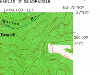 Reduced fragment of topographic map en--usgs--024k--020054--(1954)--N037-00-00_W083-30-00--N036-52-30_W083-22-30