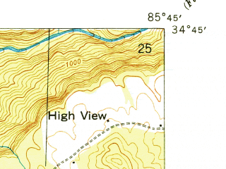 Reduced fragment of topographic map en--usgs--024k--020072--(1950)--N034-45-00_W085-52-30--N034-37-30_W085-45-00; towns and cities Pisgah