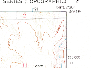 Reduced fragment of topographic map en--usgs--024k--020094--(1958)--N040-15-00_W100-00-00--N040-07-30_W099-52-30; towns and cities Hendley