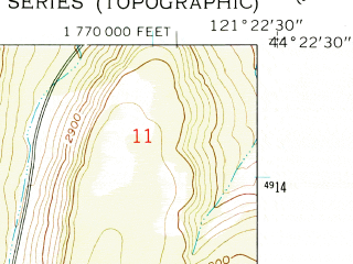 Reduced fragment of topographic map en--usgs--024k--020100--(1962)--N044-22-30_W121-30-00--N044-15-00_W121-22-30