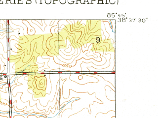 Reduced fragment of topographic map en--usgs--024k--020133--(1949)--N038-37-30_W085-52-30--N038-30-00_W085-45-00