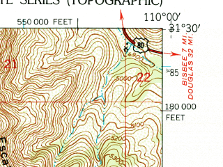 Reduced fragment of topographic map en--usgs--024k--020161--(1952)--N031-30-00_W110-07-30--N031-22-30_W110-00-00