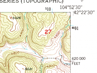 Reduced fragment of topographic map en--usgs--024k--020185--(1950)--N042-22-30_W105-00-00--N042-15-00_W104-52-30