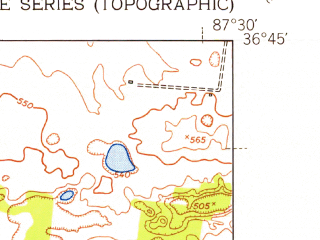 Reduced fragment of topographic map en--usgs--024k--020209--(1951)--N036-45-00_W087-37-30--N036-37-30_W087-30-00