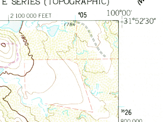 Reduced fragment of topographic map en--usgs--024k--020232--(1961)--N031-52-30_W100-07-30--N031-45-00_W100-00-00