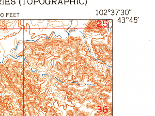 Reduced fragment of topographic map en--usgs--024k--020259--(1951)--N043-45-00_W102-45-00--N043-37-30_W102-37-30