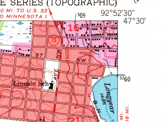 Reduced fragment of topographic map en--usgs--024k--020281--(1957)--N047-30-00_W093-00-00--N047-22-30_W092-52-30; towns and cities Hibbing, Chisholm