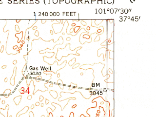 Reduced fragment of topographic map en--usgs--024k--020297--(1959)--N037-45-00_W101-15-00--N037-37-30_W101-07-30