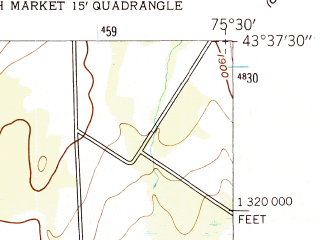 Reduced fragment of topographic map en--usgs--024k--020365--(1943)--N043-37-30_W075-37-30--N043-30-00_W075-30-00