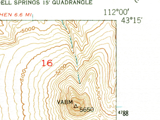 Reduced fragment of topographic map en--usgs--024k--020385--(1951)--N043-15-00_W112-07-30--N043-07-30_W112-00-00