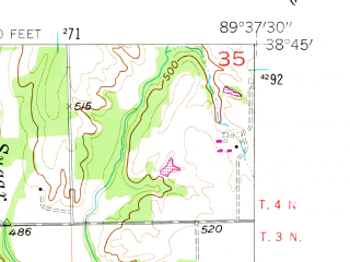 Reduced fragment of topographic map en--usgs--024k--020387--(1957)--N038-45-00_W089-45-00--N038-37-30_W089-37-30; towns and cities Highland
