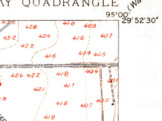 Reduced fragment of topographic map en--usgs--024k--020402--(1916)--N029-52-30_W095-07-30--N029-45-00_W095-00-00; towns and cities Channelview, Highlands, Barrett