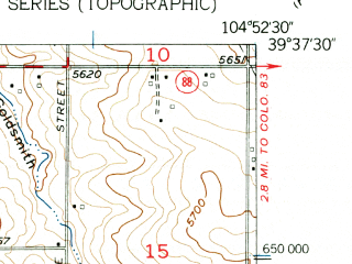 Reduced fragment of topographic map en--usgs--024k--020405--(1957)--N039-37-30_W105-00-00--N039-30-00_W104-52-30; towns and cities Southglenn, Castlewood, Highlands Ranch, Greenwood Village, Gateway