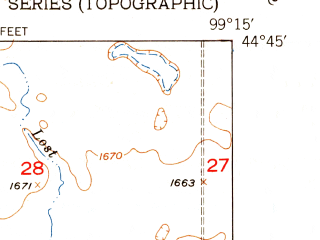 Reduced fragment of topographic map en--usgs--024k--020409--(1950)--N044-45-00_W099-22-30--N044-37-30_W099-15-00