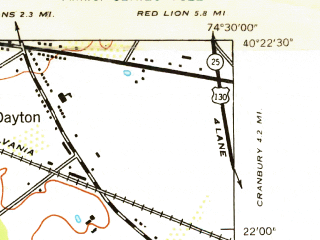 Reduced fragment of topographic map en--usgs--024k--020419--(1942)--N040-22-30_W074-37-30--N040-15-00_W074-30-00; towns and cities Hightstown, Kingston, Princeton Junction