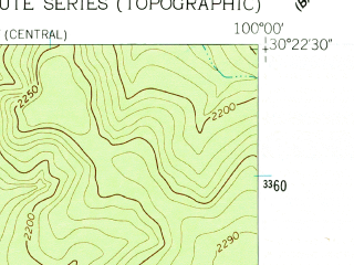 Reduced fragment of topographic map en--usgs--024k--020448--(1962)--N030-22-30_W100-07-30--N030-15-00_W100-00-00
