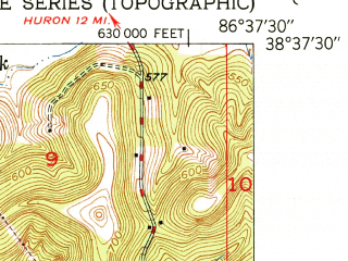 Reduced fragment of topographic map en--usgs--024k--020462--(1951)--N038-37-30_W086-45-00--N038-30-00_W086-37-30