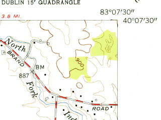 Reduced fragment of topographic map en--usgs--024k--020465--(1954)--N040-07-30_W083-15-00--N040-00-00_W083-07-30; towns and cities Dublin, Hilliard
