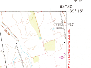 Reduced fragment of topographic map en--usgs--024k--020483--(1961)--N039-15-00_W083-37-30--N039-07-30_W083-30-00; towns and cities Hillsboro