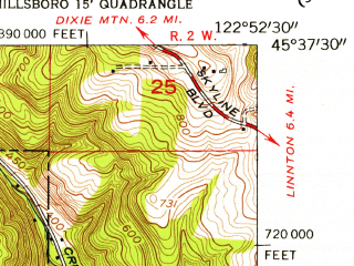Reduced fragment of topographic map en--usgs--024k--020491--(1954)--N045-37-30_W123-00-00--N045-30-00_W122-52-30; towns and cities Hillsboro, Rockcreek, North Plains
