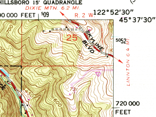 Reduced fragment of topographic map en--usgs--024k--020491--(1961)--N045-37-30_W123-00-00--N045-30-00_W122-52-30; towns and cities Hillsboro, Rockcreek, North Plains