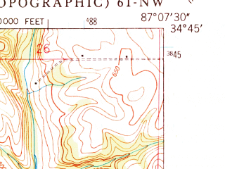 Reduced fragment of topographic map en--usgs--024k--020493--(1948)--N034-45-00_W087-15-00--N034-37-30_W087-07-30; towns and cities Hillsboro