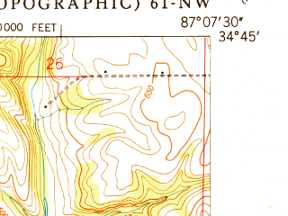 Reduced fragment of topographic map en--usgs--024k--020493--(1951)--N034-45-00_W087-15-00--N034-37-30_W087-07-30; towns and cities Hillsboro