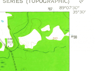 Reduced fragment of topographic map en--usgs--024k--020519--(1959)--N035-30-00_W089-15-00--N035-22-30_W089-07-30