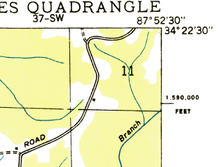Reduced fragment of topographic map en--usgs--024k--020618--(1936)--N034-22-30_W088-00-00--N034-15-00_W087-52-30; towns and cities Hodges