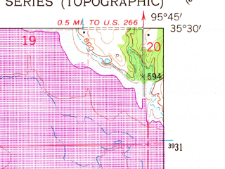 Reduced fragment of topographic map en--usgs--024k--020628--(1962)--N035-30-00_W095-52-30--N035-22-30_W095-45-00; towns and cities Hoffman