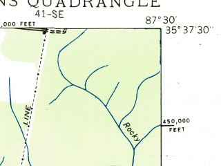 Reduced fragment of topographic map en--usgs--024k--020664--(1936)--N035-37-30_W087-37-30--N035-30-00_W087-30-00; towns and cities Hohenwald