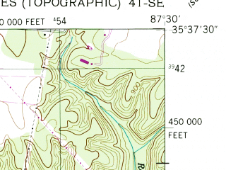 Reduced fragment of topographic map en--usgs--024k--020664--(1951)--N035-37-30_W087-37-30--N035-30-00_W087-30-00; towns and cities Hohenwald