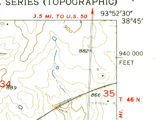 Reduced fragment of topographic map en--usgs--024k--020683--(1954)--N038-45-00_W094-00-00--N038-37-30_W093-52-30; towns and cities Holden