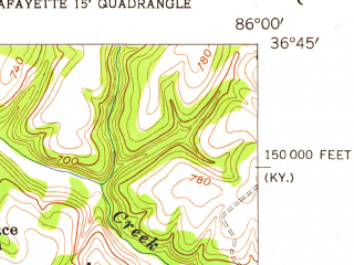 Reduced fragment of topographic map en--usgs--024k--020712--(1954)--N036-45-00_W086-07-30--N036-37-30_W086-00-00
