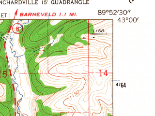 Reduced fragment of topographic map en--usgs--024k--020729--(1962)--N043-00-00_W090-00-00--N042-52-30_W089-52-30; towns and cities Hollandale, Ridgeway