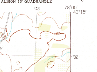 Reduced fragment of topographic map en--usgs--024k--020734--(1950)--N043-15-00_W078-07-30--N043-07-30_W078-00-00; towns and cities Holley