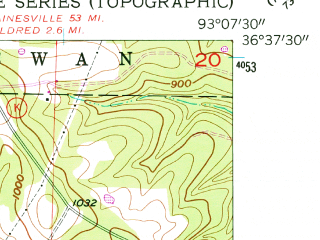 Reduced fragment of topographic map en--usgs--024k--020746--(1956)--N036-37-30_W093-15-00--N036-30-00_W093-07-30; towns and cities Hollister