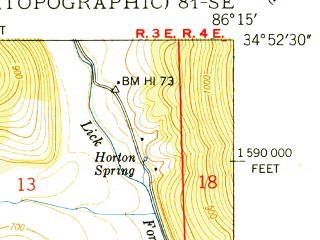 Reduced fragment of topographic map en--usgs--024k--020780--(1951)--N034-52-30_W086-22-30--N034-45-00_W086-15-00