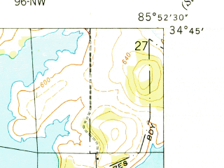 Reduced fragment of topographic map en--usgs--024k--020782--(1950)--N034-45-00_W086-00-00--N034-37-30_W085-52-30; towns and cities Hollywood