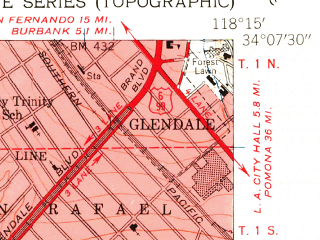 Reduced fragment of topographic map en--usgs--024k--020785--(1953)--N034-07-30_W118-22-30--N034-00-00_W118-15-00; towns and cities West Hollywood